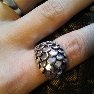 🍒3/$30 New Heavy Silver Dragon Scales Dome Ring